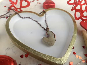 Heart-shaped Beach Pebble Copper Electroformed Valentine's Necklace - #5 - Minxes' Trinkets