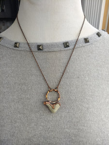 Heart-shaped Beach Pebble Copper Electroformed Valentine's Necklace - #2 - Minxes' Trinkets