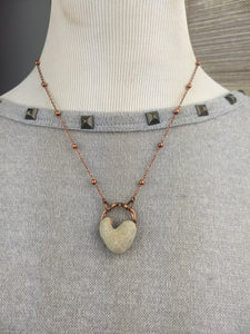 Heart-shaped Beach Pebble Copper Electroformed Valentine's Necklace - #3 - Minxes' Trinkets