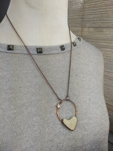 Heart-shaped Beach Pebble Copper Electroformed Valentine's Necklace - #9 - Minxes' Trinkets
