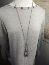 Load image into Gallery viewer, Elestial Amethyst and Moonstone Electroformed Necklace - Minxes' Trinkets