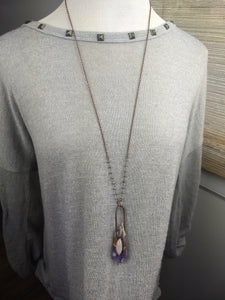 Elestial Amethyst and Moonstone Electroformed Necklace - Minxes' Trinkets
