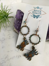 Load image into Gallery viewer, Crab and Copper Verdigris Earrings - Minxes' Trinkets