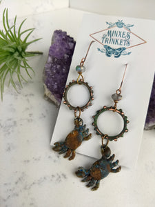 Crab and Copper Verdigris Earrings - Minxes' Trinkets