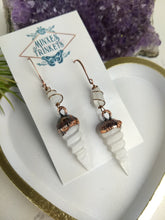 Load image into Gallery viewer, Selenite Unicorn Horn electroformed earrings - Minxes' Trinkets
