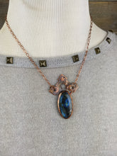 Load image into Gallery viewer, Vintage escutcheon, moon, star, and oval blue labradorite - Copper electroformed necklace - Minxes' Trinkets