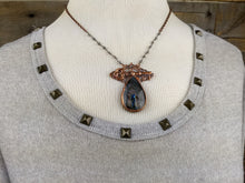 Load image into Gallery viewer, Filigree, key, and purple labradorite - Copper electroformed necklace - Minxes' Trinkets