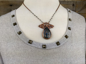 Filigree, key, and purple labradorite - Copper electroformed necklace - Minxes' Trinkets