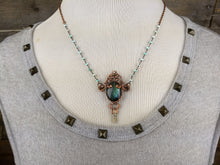 Load image into Gallery viewer, Pocket watch key and teal labradorite - Copper electroformed necklace - Minxes' Trinkets