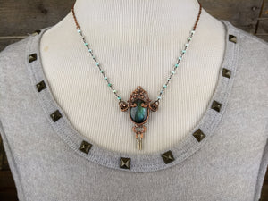 Pocket watch key and teal labradorite - Copper electroformed necklace - Minxes' Trinkets