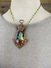 Load image into Gallery viewer, Vintage Escutcheon & Key, with Green and Blue Labradorite - Copper electroformed necklace - Minxes' Trinkets