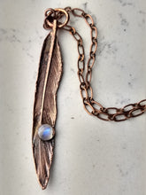 Load image into Gallery viewer, Real Electroformed Feather with Moonstone - petite - Minxes' Trinkets