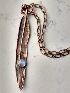 Real Electroformed Feather with Moonstone - petite - Minxes' Trinkets