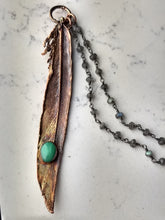 Load image into Gallery viewer, Real Electroformed Feather with Chrysoprase - petite - Minxes' Trinkets