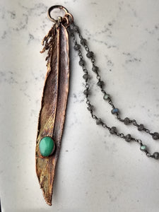 Real Electroformed Feather with Chrysoprase - petite - Minxes' Trinkets