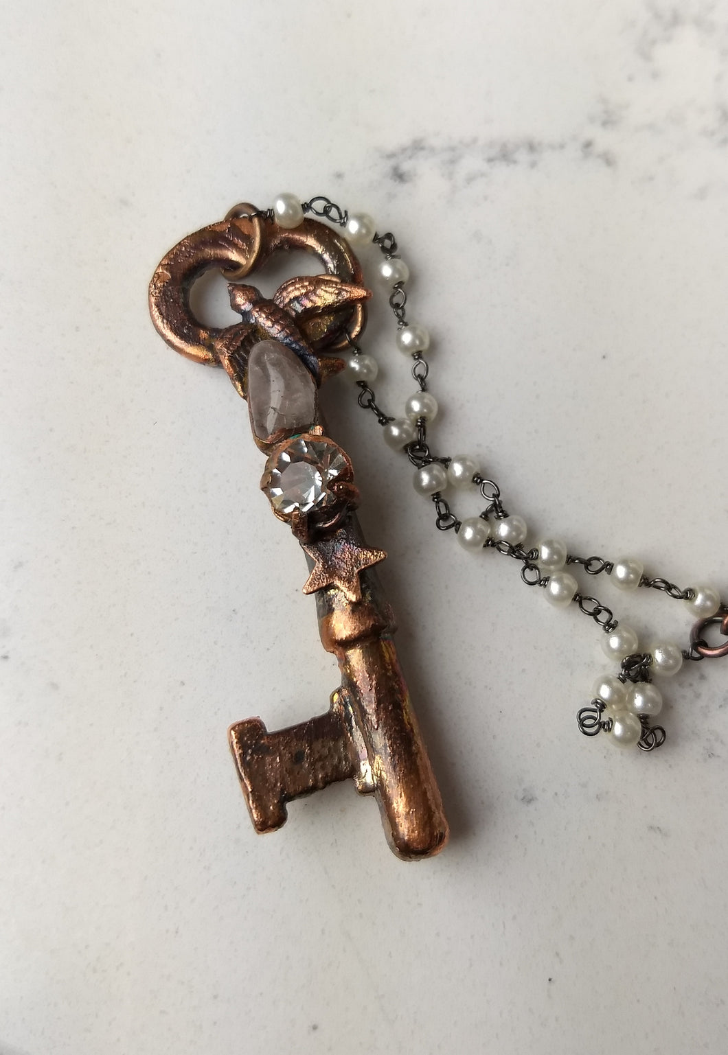 Vintage skeleton key with swallow, rhinestone, and quartz - Copper electroformed necklace - Minxes' Trinkets