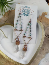 Load image into Gallery viewer, Geometric Electroformed Quartz Earrings -  Peruvian opal beaded chain - Minxes' Trinkets
