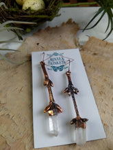 Load image into Gallery viewer, Forsythia twig and quartz - copper electroformed earrings - 3 - Minxes' Trinkets