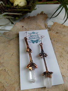 Forsythia twig and quartz - copper electroformed earrings - 3 - Minxes' Trinkets