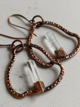 Load image into Gallery viewer, Quartz blades of light electroformed hoop earrings - Minxes' Trinkets