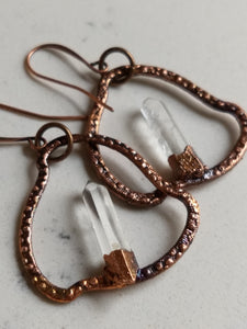 Quartz blades of light electroformed hoop earrings - Minxes' Trinkets