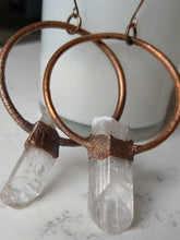 Load image into Gallery viewer, Danburite electroformed hoop earrings - Minxes' Trinkets