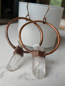 Danburite electroformed hoop earrings - Minxes' Trinkets