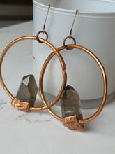 Load image into Gallery viewer, Smoky quartz electroformed hoop earrings - Minxes' Trinkets