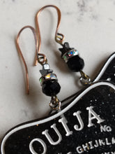 Load image into Gallery viewer, Ouija planchette earrings - black glass and hematite stars - Minxes' Trinkets