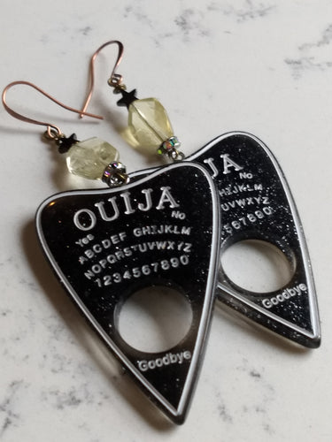 Ouija planchette earrings - citrine and hematite stars - Minxes' Trinkets