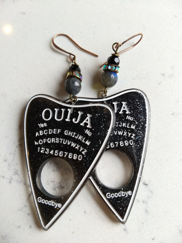 Ouija planchette earrings - labradorite and black glass - Minxes' Trinkets