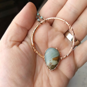 Ocean Picture Stone Electroformed Necklace - Seaspray - Minxes' Trinkets