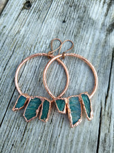 Load image into Gallery viewer, Raw Amazonite electroformed hoop earrings - Minxes' Trinkets