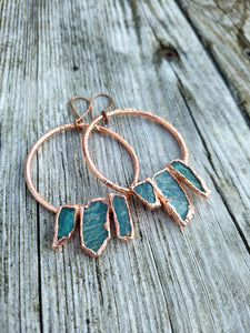 Raw Amazonite electroformed hoop earrings - Minxes' Trinkets