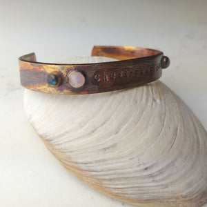 Chesapeake Bae Cuff - Labradorite and Sunstone - Copper Electroformed - Minxes' Trinkets