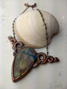 Labradorite and snakes electroformed necklace - HOLD FOR MIYUN - Minxes' Trinkets