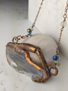 Horseshoe Crab Claw and Montana Agate Copper Electroformed Necklace - Minxes' Trinkets