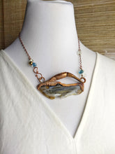 Load image into Gallery viewer, Horseshoe Crab Claw and Montana Agate Copper Electroformed Necklace - Minxes' Trinkets