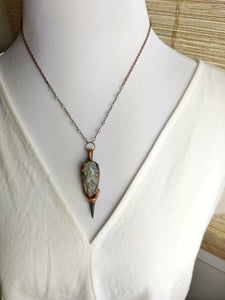 Shark's Tooth and Druzy Labradorite Copper Electroformed Necklace - Minxes' Trinkets