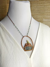Load image into Gallery viewer, Shark's Tooth and Druzy Labradorite II - Copper Electroformed Necklace - Minxes' Trinkets