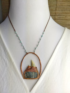 Shark's Tooth and Druzy Labradorite II - Copper Electroformed Necklace - Minxes' Trinkets