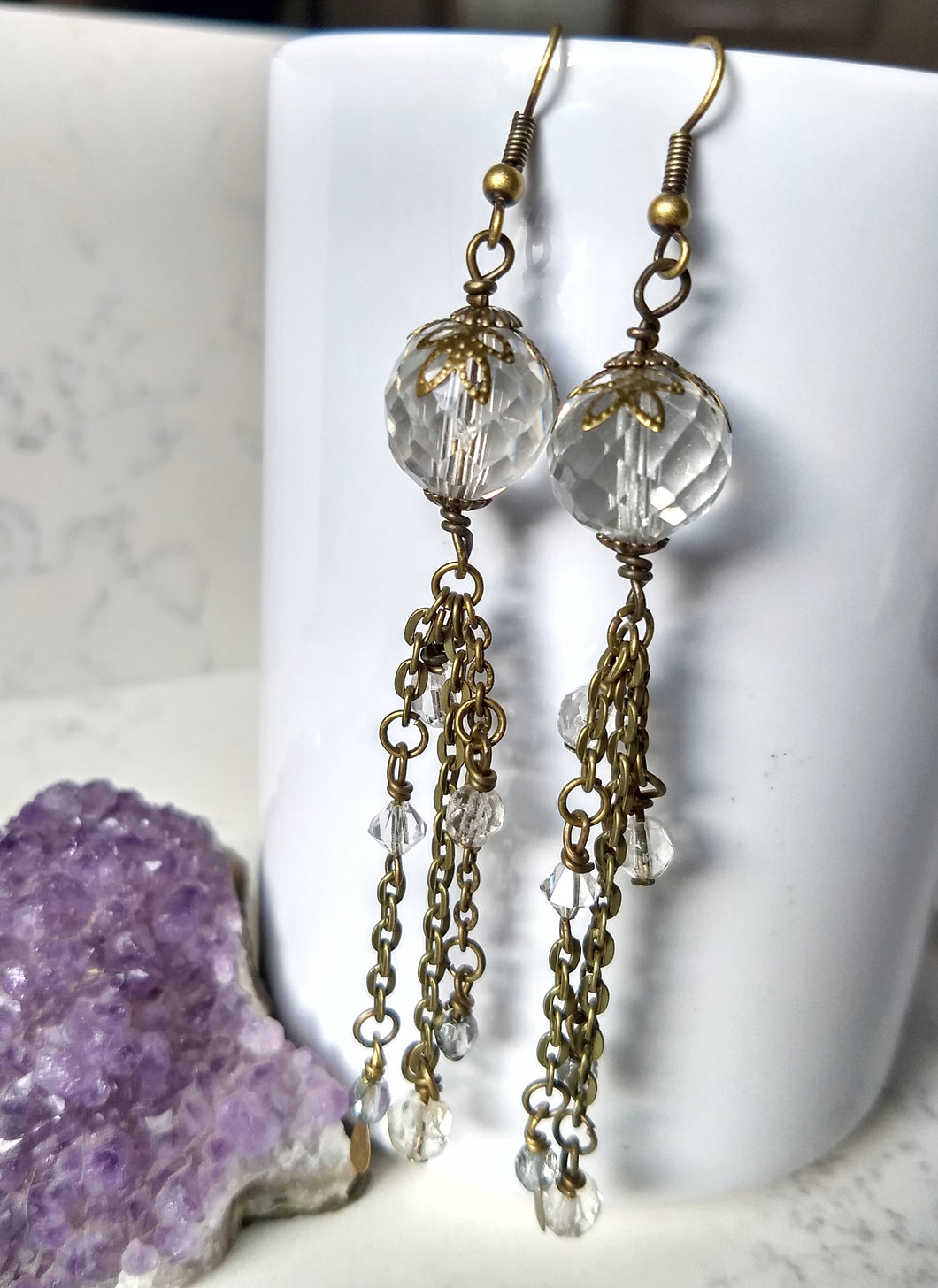 Whiter Shade of Pale - vintage crystal assemblage earrings - Minxes' Trinkets