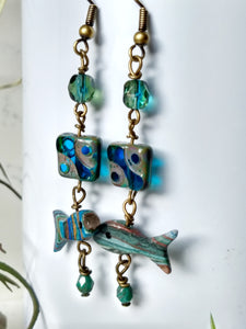 Go with the Flow - Vintage Carved Fish Earrings - Minxes' Trinkets