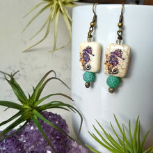 Load image into Gallery viewer, Seahorse Howlite Earrings - Minxes' Trinkets