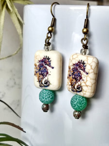 Seahorse Howlite Earrings - Minxes' Trinkets