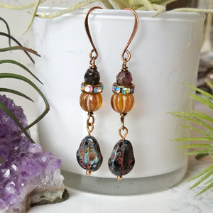 Trilobite Earrings - Burnt Sienna and Black - Minxes' Trinkets