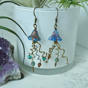 Jellyfish Earrings - Blue and Copper - Minxes' Trinkets