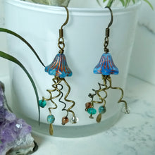 Load image into Gallery viewer, Jellyfish Earrings - Blue and Copper - Minxes' Trinkets