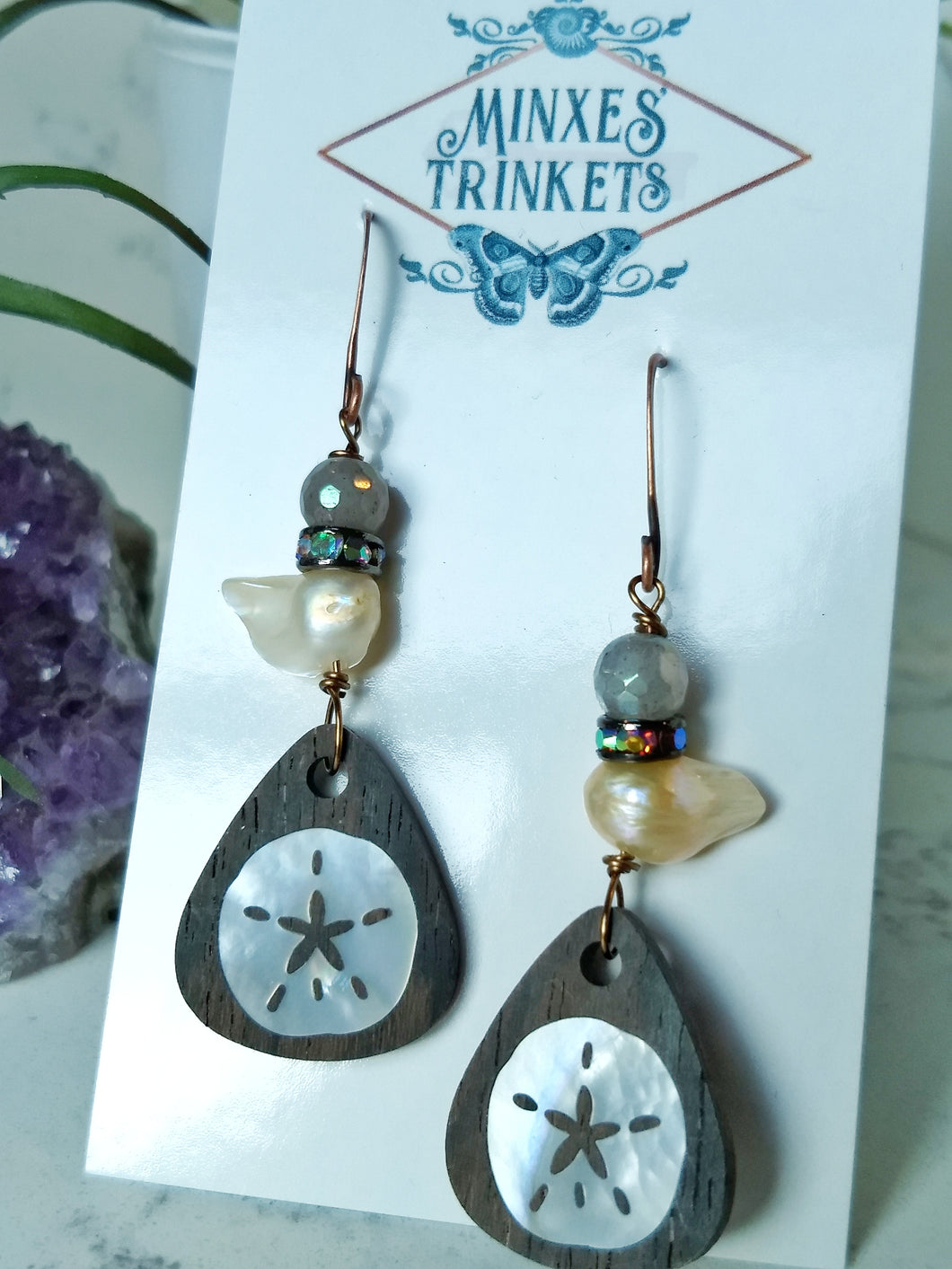 Inlay Earrings - Sand Dollar and Pearl - Minxes' Trinkets