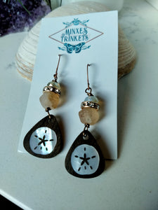 Inlay Earrings - Sanddollar and Rhinestones - Minxes' Trinkets